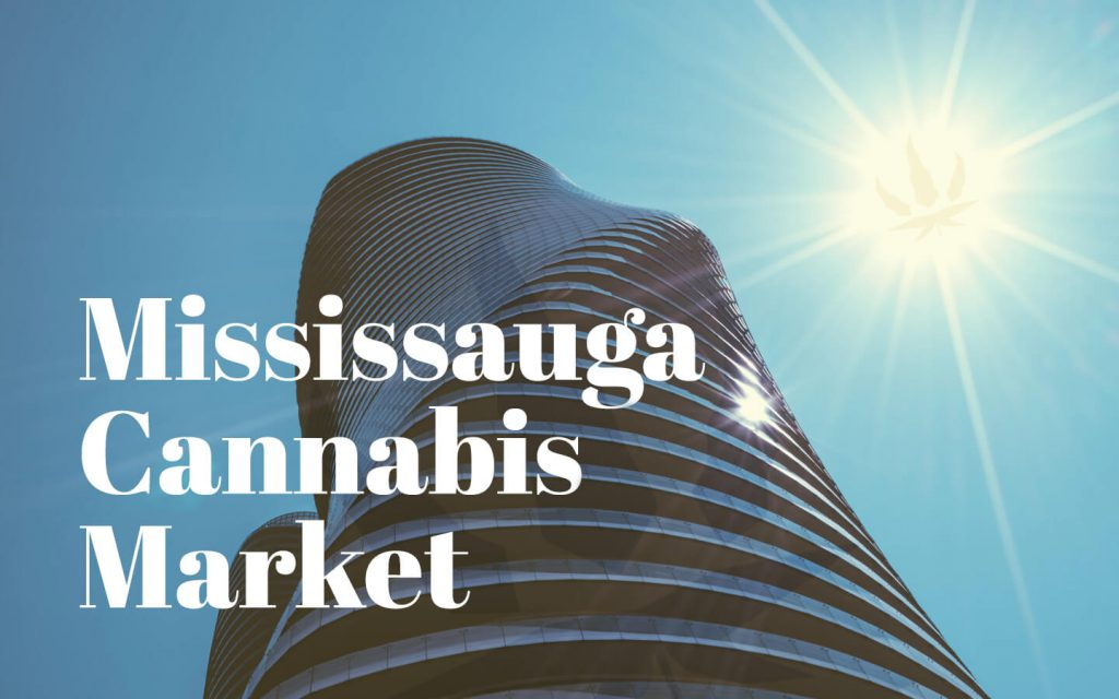 Mississauga Building with text that says Mississauga Cannabis Market
